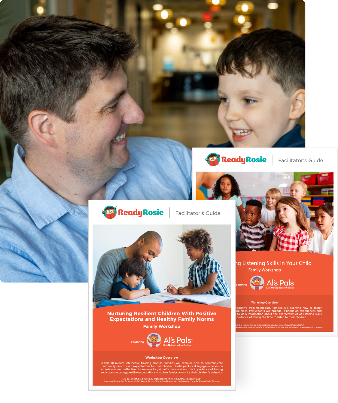 A father and son with screenshots from the ReadyRosie Family App